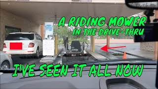 UNSEEN CLIPS WHO RIDES A LAWNMOWER THROUGH THE DRIVE THRU