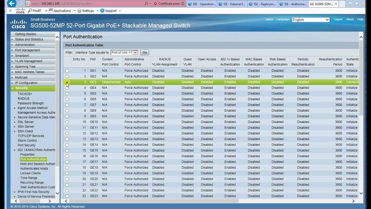 802 1X Authentication Using Windows AD and Cisco ISE for Cisco SX300/SX500