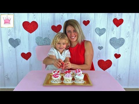 Готовим кексики на День Святого Валентина, для папы. Кексики из мастики и много сердечек. 14 февраля