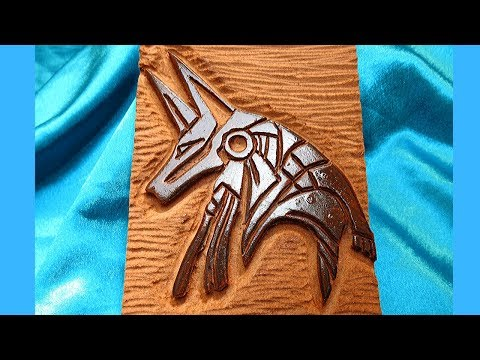 Wood carving | Carving an Egyptian Anubis mask relief on MDF using a dremel rotary tool