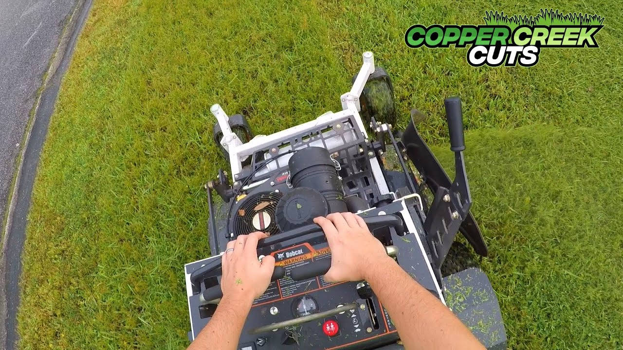 Tall Thick Grass Front Yard Mowing, Edging, String Trimming, Blowing POV (Bobcat Mower)