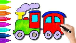 How to Draw Toy Train Coloring Pages l Coloring Book Videos For Children