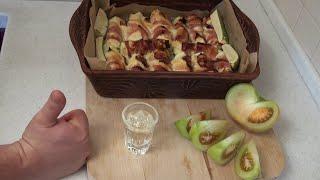 Фото Как приготовить кабачки с беконом и сыром