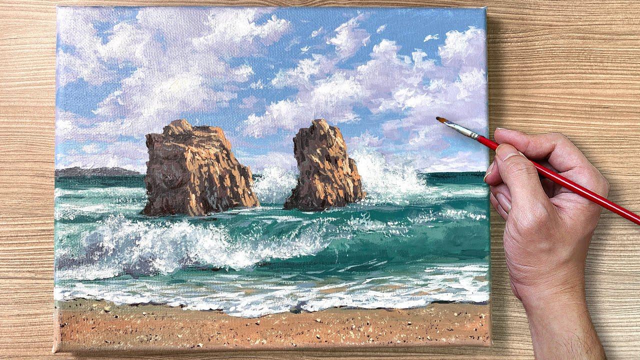 Acrylic Painting Waves on Big Rocks Seascape