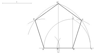 How to draw a regular pentagon knowing the length of one side