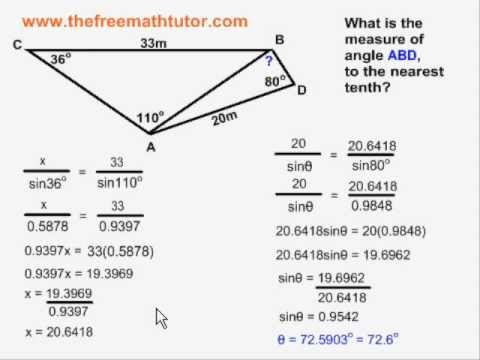 Multiple Step Sine Law And Cosine Law Problems Example 3 Youtube