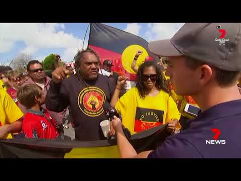 Seven + Nine News. Supremacist Aborigines Protest Games Over Land.(Queensland)