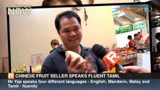 Chinese fruit seller speaks fluent Tamil