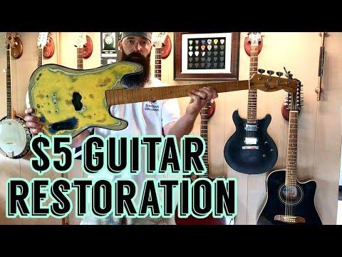 Yard Sale Find!!! $5 Bass Guitar!!! - Restored / 5 DOLLARS!