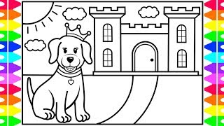 How to Draw a Princess Puppy for Kids 👑🐶💖💚💜Princess Puppy Drawing and Coloring Page for Kids