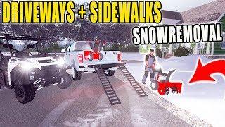 WALK BEHIND SNOWBLOWER | CLEARING DRIVEWAYS + SIDEWALKS | FARMING SIMULATOR 2017