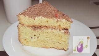Очень простой рецепт бисквитного торта с кремом - получится даже у НОВИЧКОВ!