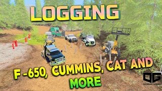 FS17 - LOGGING WITH F-650, CUMMINS, AND CAT SEMI! EP1