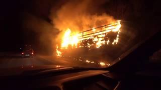 ЧП на трассе М5 перегон Челябинск Уфа сгорел тягач с полуприцепом