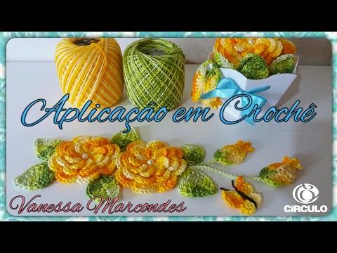 Flor viciadas em crochê,folha, botão e borboleta para aplicação .Por Vanessa Marcondes .