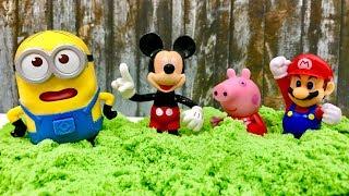 ☺️ Kinetic Sand and Mickey Mouse, Peppa Pig, Minions, Super Mario  Piasek Kinetyczny i Myszka Miki