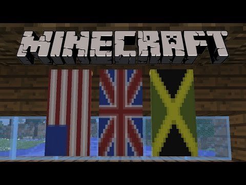 How To Make Union Jack (UK) Flag, American Flag and Jamaican Flag in Minecraft 1.8 - Banner Tutorial