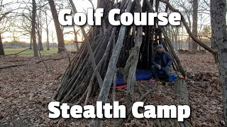 Golf Course Stealth Camṗing in a Bushcraft Shelter