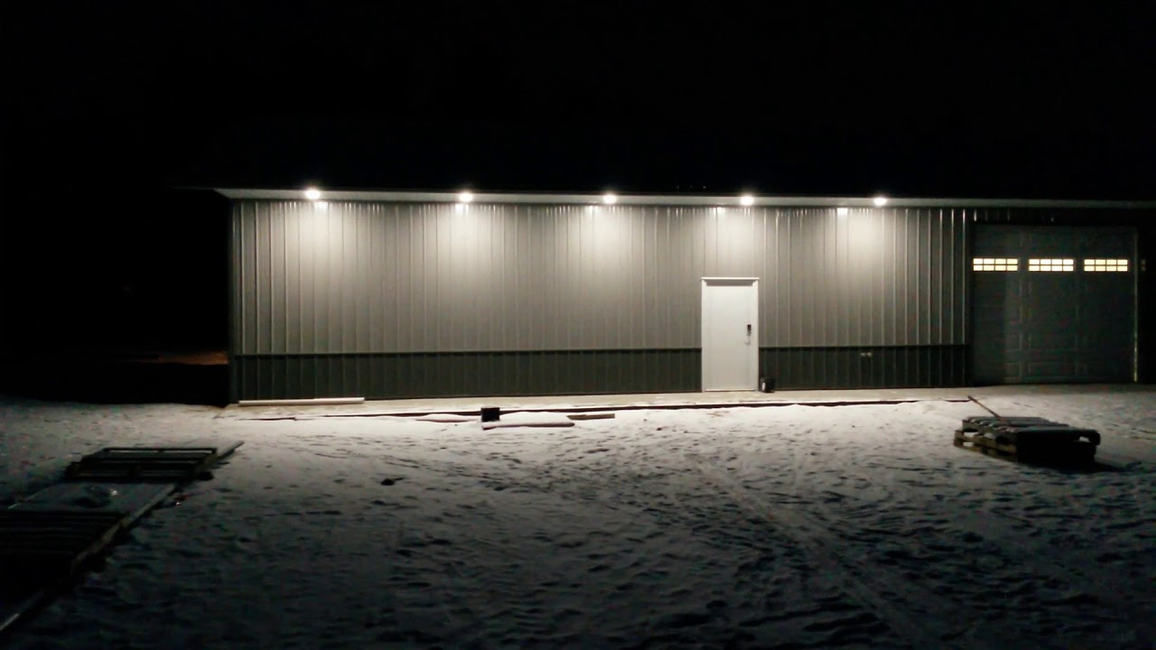 pole barn shop exterior lights with thin led wafer recessed lights