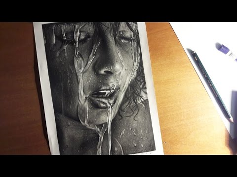 Hyperrealistic water on face pencil drawing vol.2 extremely detailed waterdrops