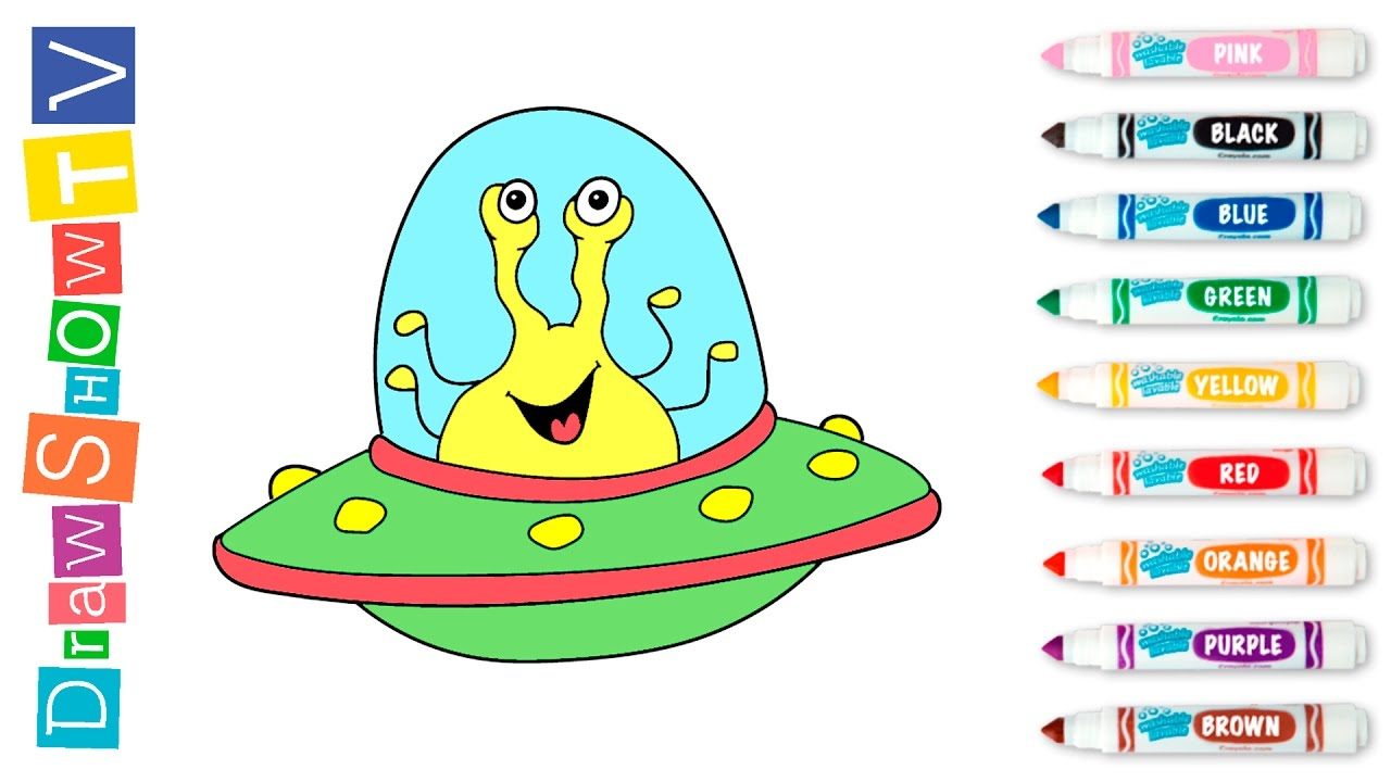 ufo coloring book and drawing colouring videos for kids with