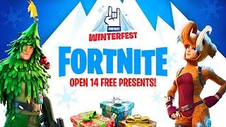 OPENING WINTERFEST PRESENTS!! (Fortnite Battle Royale)