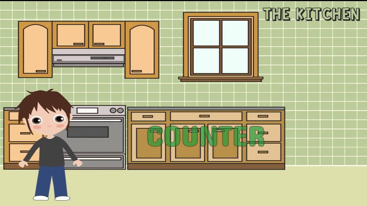 Ingl s para ni os la cocina kitchen youtube for Cocina para ninos