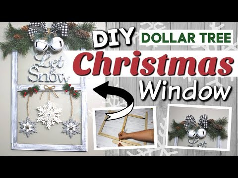 DIY Dollar Tree Christmas Window | Dollar Tree Farmhouse Christmas Decor DIY | Krafts by Katelyn