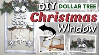 DIY Dollar Tree Christmas Window | Dollar Tree Farmhouse Christmas Decor DIY | Krafts by Katelyn