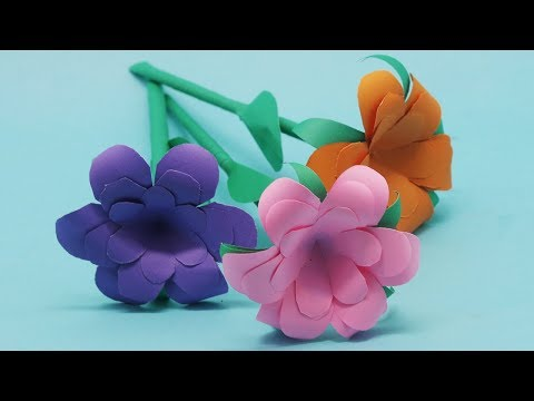 How to Make Easy DIY Colorful paper Stick Flower  Stick Flowers Ideas Step by Step!