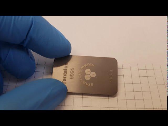 Tantalum bullion ingot - laser engraved