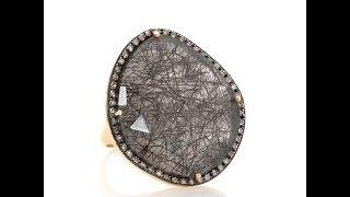 Rarities Tourmalinated Quartz and Diamond Ring