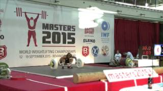 Snatch third attempt Adela Pijcke during WC Masters weightlifting Rovaniemi 2015