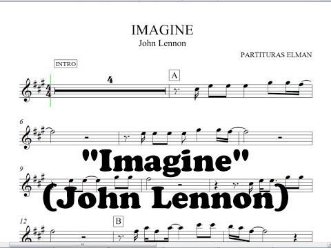 Imagine John Lennon Partitura Para Saxo Trompeta Violin Guitarra Etc By Partituras Elman