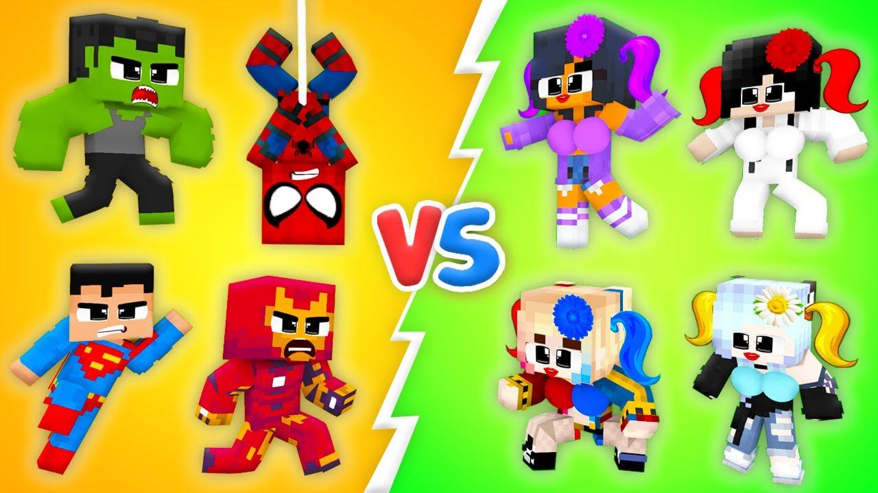 Monster School : Baby SUPERHEROES Ironman Hulk LOVE CURSE Boys vs Girls Zombie - Minecraft Animation