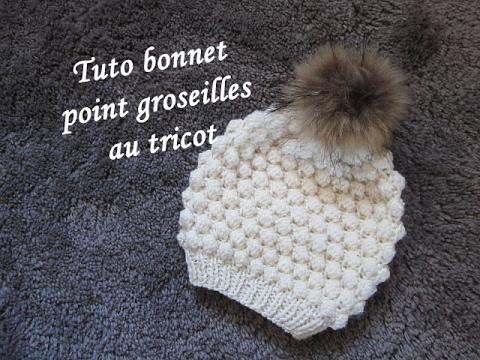 Tuto bonnet point groseille tricot hat beanie knitting gorro tejido dos agujas youtube - Point de ble au tricot ...