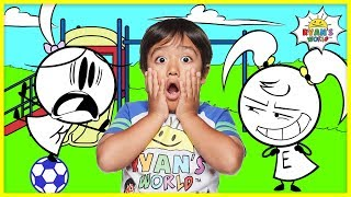 Ryan Pretend Play with Emma and Kate EK Doodles at the Park   Kids Animation fun