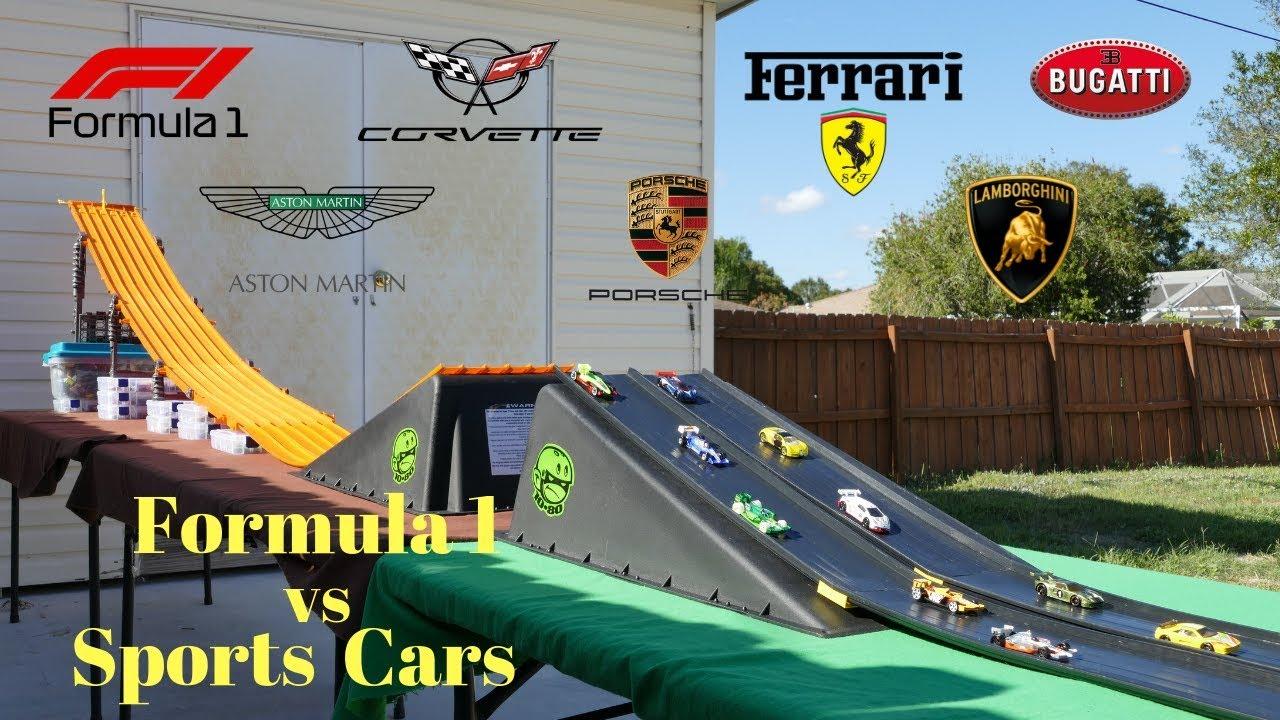 Hot Wheels fat track formula 1 vs Super sports street cars tournament race
