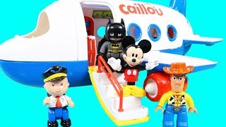 Cailou Takes Lego Duplo Toy Story 4 Woody + Batman & Mickey Mouse On A Plane Vacation