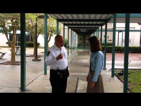 Security guard reports for duty at Oneco Elementary School in Bradenton