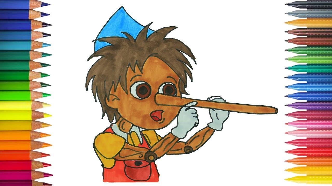 Pinokio Dan Hidungnya Menggambar Dan Mewarnai