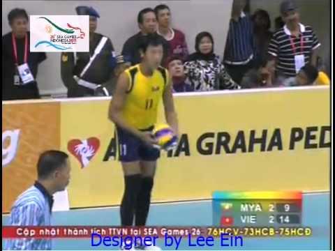 Bóng chuyền nam: Vietnam 3 - 2 Myanmar (vòng bảng Sea Games 26 - Indonesia)