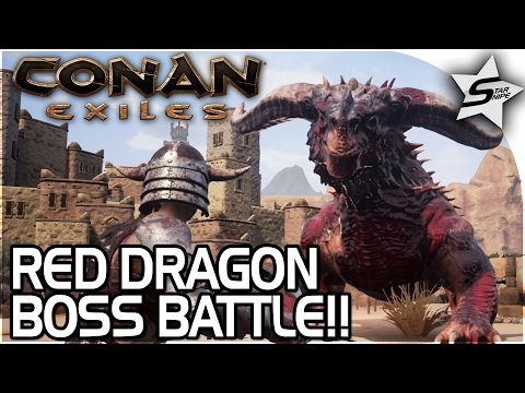 THE RED DRAGON BOSS BATTLE!! - THIS THING'S TOO STRONG! - Conan Exiles Gameplay Part 22
