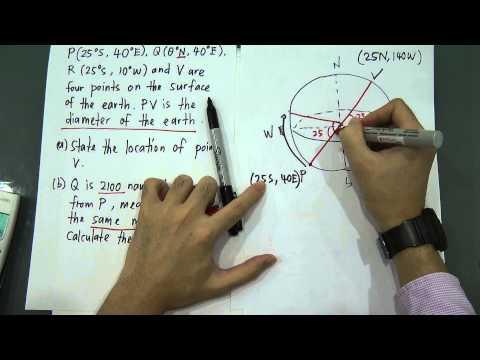 SPM - Modern Maths - Form 5 - Earth as Sphere (pyq - 2012)