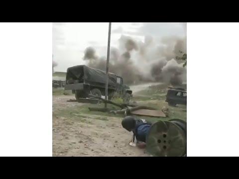 Armenia-Azerbaijan War - Armenian Positions Hit By  Azerbaijani Artillery Fire