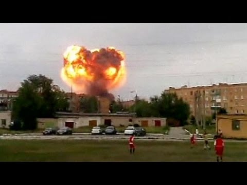 Thousands are evacuated as exploding shells rock a Russian munitions depot