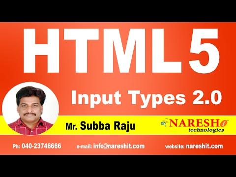 HTML5 Input Types 2.0 | Web Technologies Tutorial | Mr. Subba Raju