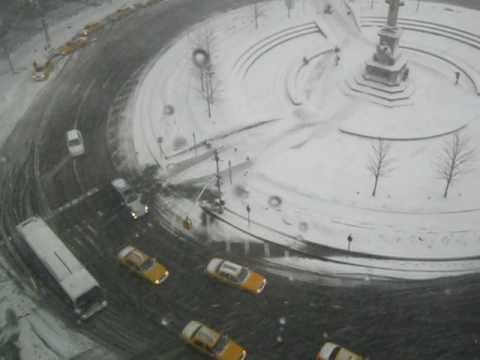 Columbus Circle Winter Blizzard Storm New York City