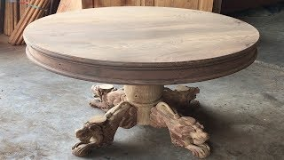 Woodworking Projects Fastest Easiest // Make A Round Table With Woodturning Legs Extremely Delicate