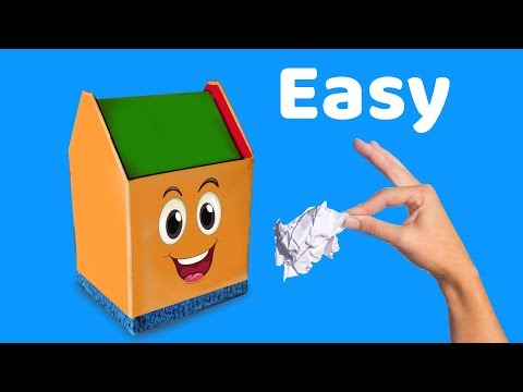 How to Make Mini Dustbin for Kids Using Waste Material   Origami Minute Paper Craft   DIY Projects
